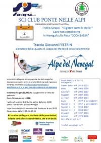 """Trofeo Sinapsi """"Gigante sotto le stelle """" 2 Gennaio 2018"""
